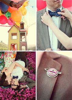 completely adorable, bringing UP to life :) Plan My Wedding, Dream Wedding, Wedding Ideas, Great Love Stories, Love Story, Prenup Theme, Disney Pixar Up, Cute Photography, Happily Ever After
