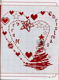 How amazing does this look? It combines three of my loves - cross stitch, hearts and its about christmas. Xmas Cross Stitch, Just Cross Stitch, Cross Stitch Heart, Simple Cross Stitch, Cross Stitching, Cross Stitch Embroidery, Cross Stitch Designs, Cross Stitch Patterns, Ladder Stitch