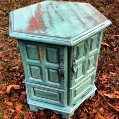 Vintage turquoise painted side table