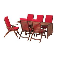 IKEA ÄPPLARÖ Table+6 reclining chairs, outdoor Brown stained/frösön/duvholmen red As the drop-leaves can be folded and removed, you can quickly adjust the table size according to your needs.