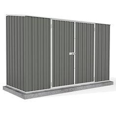 10' x 5' Grey Pent Roof Metal Garden Shed - Easy Build Double Door - Grey - By Waltons