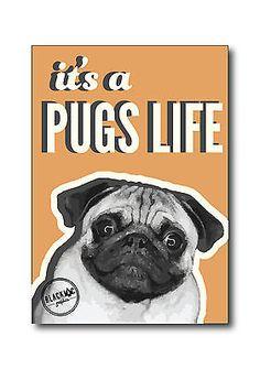 Its A Pug's Life Dog Poster Plain Orange