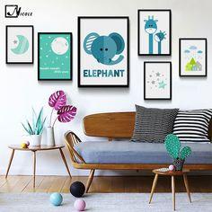 Moon Cartoon Animal Giraffe Elephant Minimalist Art Canvas Poster Painting A4 Nursery Wall Picture Print Modern Kids Room Decor