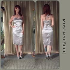 NWT SILVER MUSTARD SEED COCKTAIL DRESS New Mustard Seed cocktail sheath dress with side zipper & spaghetti criss cross back straps. The dress is not lined but is not sheer. The length is very practical for those that do not feel good in a mini! Very simple design but has quite a bit to say in the sexy department. Sometimes sexy is simple! Mustard Seed Dresses