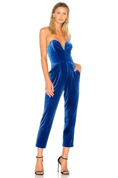 Amanda Uprichard velvet blue jumpsuit