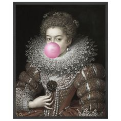 A traditional renaissance portrait of a Queen with a modern and super quirky twist! The regal Queen in this art print is playfully blowing pink bubblegum from her mouth. Framed Canvas Prints, Canvas Frame, Canvas Art, Wood Canvas, Renaissance Portraits, Renaissance Paintings, Gothic Themes, Rockett St George, Blowing Bubbles