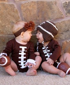 Brown Football Long-Sleeve onesies and hats :)