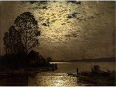Ernst Lorenz-Murowana - See Bei Mondschein Moonlight Painting, Still Life, Restoration, Landscapes, Artwork, Chiaroscuro, Moonlight, Paisajes, Scenery