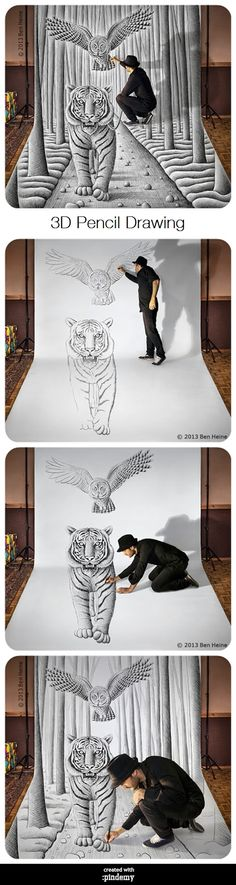 3D Pencil Drawing via pindemy.com