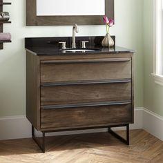 """36""""+Cael+Teak+Vanity+for+Undermount+Sink+-+Dark+Gray+Wash"""