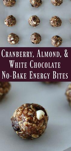 Cranberry Almond White Chocolate No Bake Energy Bite. Healthy energy ball recipe