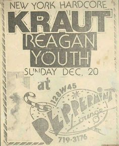 KRAUT and REAGAN YOUTH.