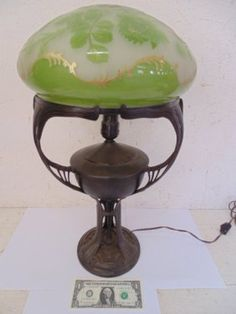Bronze Art Nouveau Table Lamp With Art Glass Shade,