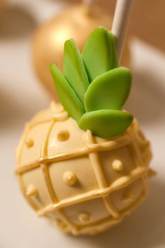 Pineapple Shaped Cake Pop - perfect for pineapple themed bridal showers and birthday parties / event design by Hey Girl Events