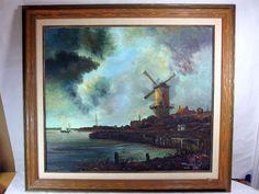 http://stores.ebay.com/mariasantiqueandvintage Vtg Dutch Oil Canvas Original Painting Dutch Holland Windmill Harbor Sailboat #Realism
