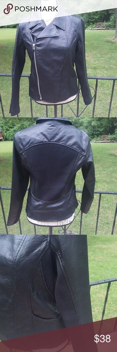"""Simply Vera Wang faux leather moto jacket EUC No signs of wear at all!! Measures flat 19"""" pit to hem 12"""" shoulder seam to shoulder seam 15 1/2"""" back and inner arms have cloth panels. Vera Wang Jackets & Coats"""