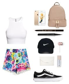 """""""Travel Outfit: Casual & Pretty"""" by amanrose on Polyvore featuring H&M, Vans, MICHAEL Michael Kors, Anastasia Beverly Hills, Marc Jacobs, Nike Golf, Beats by Dr. Dre and Style & Co."""