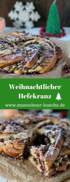 Weihnachtlicher Hefekranz mit Schokolade, Marzipan und frischen Cranberries. Gewürzt mit gemahlenem Sternanis. www.muenchner-kueche.de #hefekranz #hefeteig #weihnachten