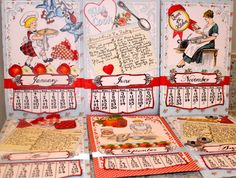 Fabulous Kitchen Calendar Recipe Book by Elizabeth Lincoln using some of Crafty Secrets new Kitchen Digital Stamps and some older digital cooking stamps. She has links and several inspiring photos of different months and great embellishing ideas like the mini faux Christmas Pudding she painted.