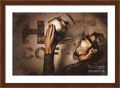 Tin Framed Print featuring the photograph Funny Nerd On Vintage Coffee Tin Sign by Ryan Jorgensen