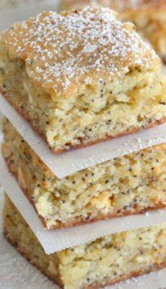 White Chocolate Lemon Poppyseed Blondies ~ It's dense, chewy and lemon poppyseed delicious.
