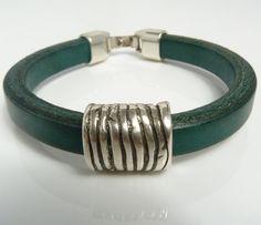 Bottle Green Regaliz Leather Bracelet by TiggyBooJewellery on Etsy, £18.00