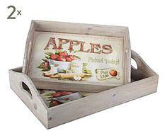 COTTAGE ROMÁNTICO: Set de 4 bandejas de madera Manzanas