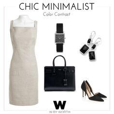 Desk to Dinner Chic Minimalist #WbyWorth Off White and Tumbleweed Textured Linen Cutaway Sheath paired with #IsabelMarant Stainless Steel and Leather Watch, #SaintLaurent Sac De Jour Leather Tote #GianvitoRossi Suede Pumps, #Ippolita Sterling Silver Wonderland Rectangular Mini-Drop Earrings in Onyx #Spring #Summer #Dress #WorkWear