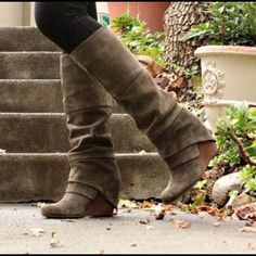 Amazing Fergie wedge boots. Color olive Amazing and comfortable! Fergie Shoes Heeled Boots