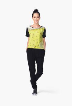 'Nasa Vintage Emblem - Black Edition' Women's Chiffon Top by Lidra Black Edition, Baby On The Way, Blue China, Top Pattern, Vintage Black, Chiffon Tops, V Neck T Shirt, Classic T Shirts, Fitness Models