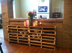 """Pallet buffet. Perfect for wine and serving piece storage. 16"""" deep."""