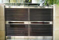 We provide Stainless Steel best Products of main gates in Shri Ram Grill Craft Pvt. House Main Door Design, Front Door Design Wood, Front Gate Design, Main Gate Design, Door Gate Design, House Design, Gate For Home, Stainless Steel Gate, Automatic Sliding Doors