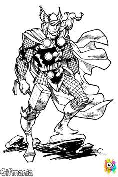 Colorea esta versión de Thor, el dios del trueno! #Thor #ChrisHemsworth #Mjolnir #dibujosparacolorear