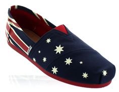 Joy & Mario Womens Australia Flag Canvas Slip-On Espadrille Flat Shoes Navy
