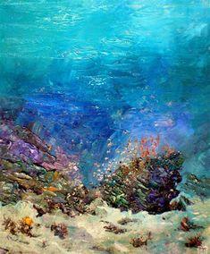 Alexander Belozor: Underwater painting of Alexander Belozor Underwater Background, Watercolor Background, Coral Reef Art, Coral Reefs, Watercolor Landscape Tutorial, Underwater Drawing, Ocean Backgrounds, Under The Ocean, Sea Colour