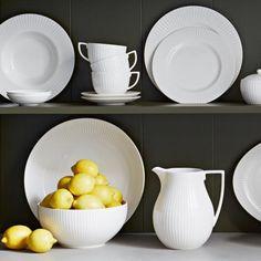 Wedgwood Jasper Conran Tisbury white striped textured/embossed dinnerware  https://www.artedona.com/en/Dinnerware/Dinnerware-white/Wedgwood-Jasper-Conran-Tisbury.html