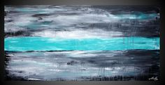 10% - 48 x 24 ORIGINAL Abstract Modern Acrylic art Painting large canvas Wall Deco Landscape Black Turquoise Ready to Hang FREE SHIPPING on Etsy, $309.00