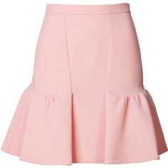 Moschino Cheap and Chic Wool Flared Hem Skirt (9,330 DOP) ❤ liked on Polyvore featuring skirts, bottoms, moschino, saias, rose, pink skater skirt, circle skirt, wet look skirt, flared skirts and pale pink skirt