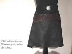 Black Leather Skirt RUNES Medieval Larp elves LOTR von Elbengard