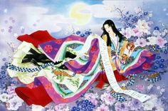 A woman dressed in junihitoe by   Haruyo Morita
