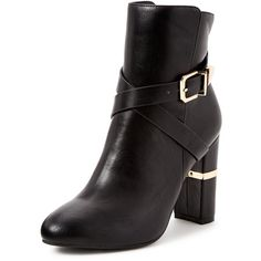V By Very Nina High Heeled Wrap Detail Ankle Boot (73 NZD) ❤ liked on Polyvore featuring shoes, boots, ankle booties, block heel booties, black booties, ankle boots, black high heel boots and black ankle booties