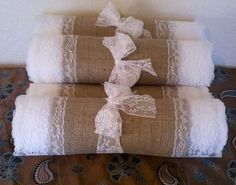 Burlap and Lace Table Runners with White Lace by RusticRunners, $18.50