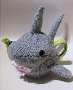 Shark Tea Cosy Knitting Pattern by:-TeaCosyFolk