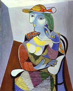 a striped yellow hat with orange ribbon on one of the many portraits Picasso made of his young mistress, Marie-Thérése Walter. This one was painted in 1947 when she was 28 and he double that age. yje serenity of the picture is remarkable, given the circumstance that the spanish civil war was in full swing, with the  nationalist rebelsmaking spectacular advances against the legitimate government.