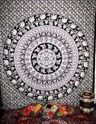 Mandala Blanket- Black and White Elephants