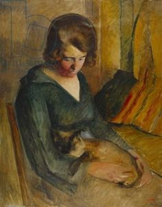 Credit: Seated woman with a cat on her knees (oil on canvas), O'Conor, Roderic (1860-1940) / Private Collection / Photo © Christie's Images / The Bridgeman Art Library