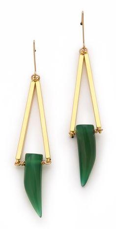 Green Agate Horn Earrings