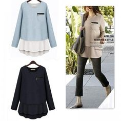 Fashion Women Faux Two-piece Crew Neck Long Sleeve T Shirt Tops Pullover