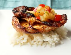 Grilled Pork Cutlets with Pineapple Mango Salsa - Creole Contessa