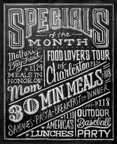 great typography... done on a chalk board!